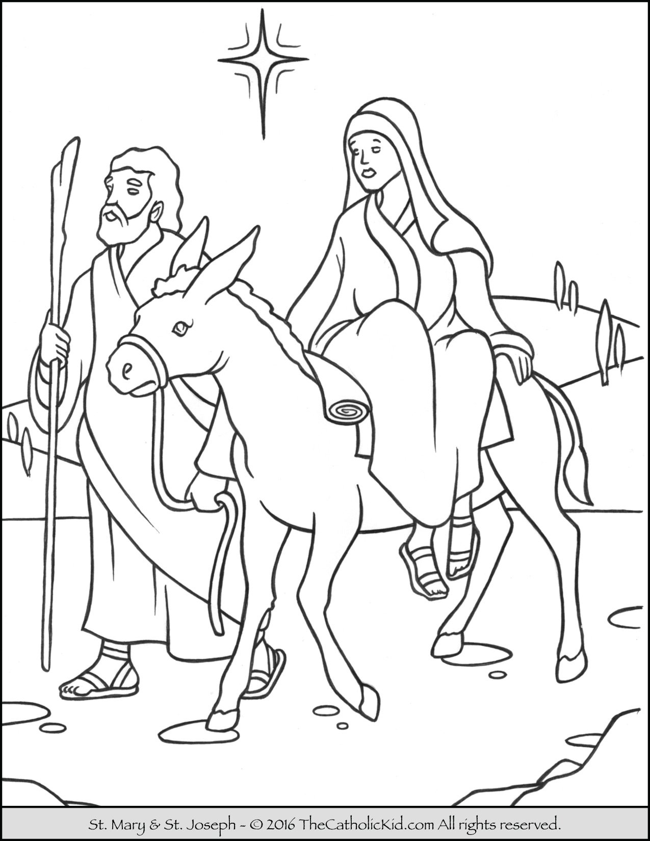 Mary Joseph Mule Advent Coloring Page