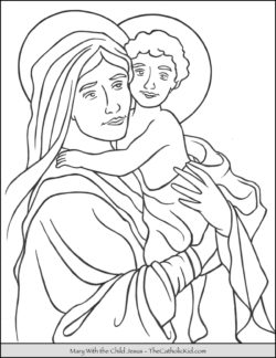 Mary With The Child Jesus Coloring Page