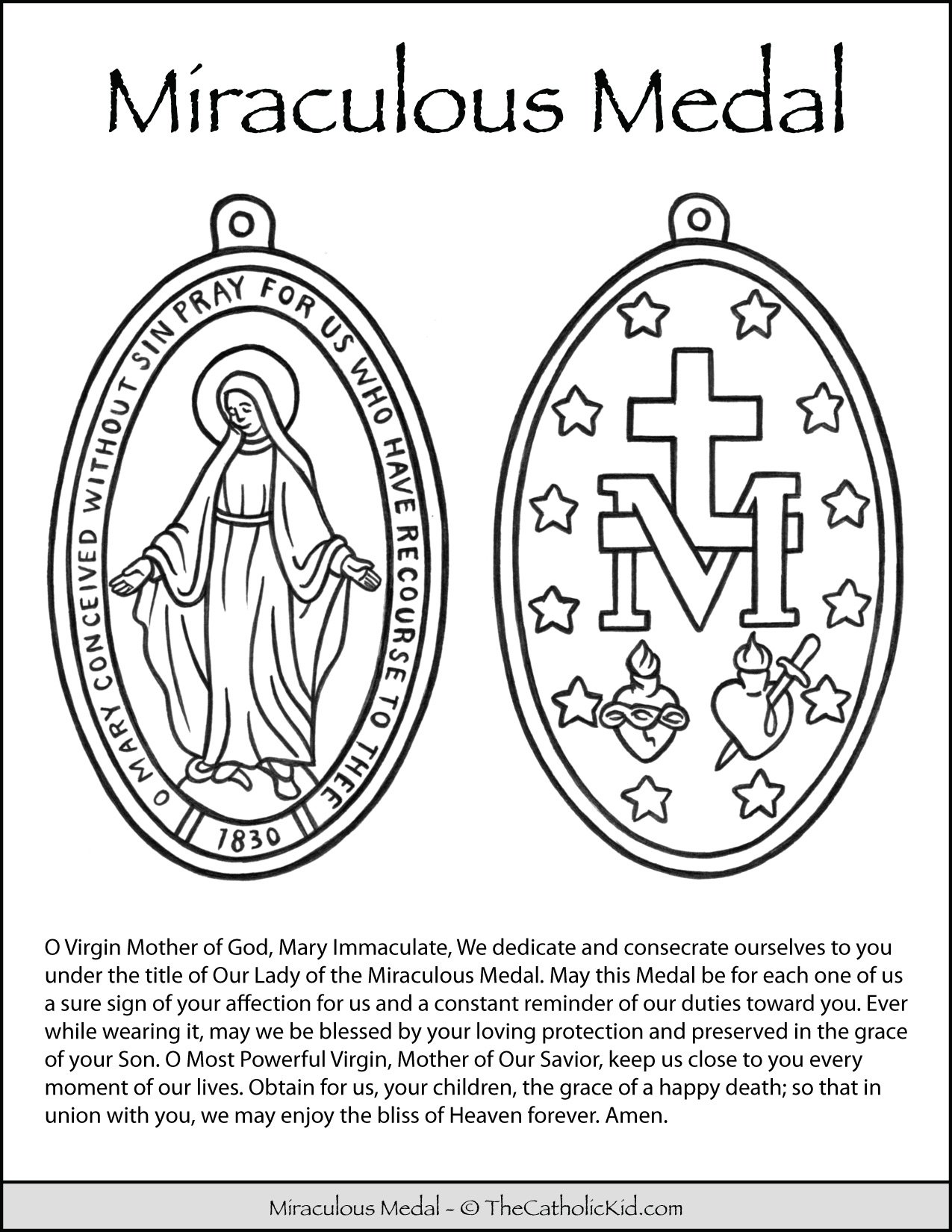 Miraculous Medal Prayer Coloring Page