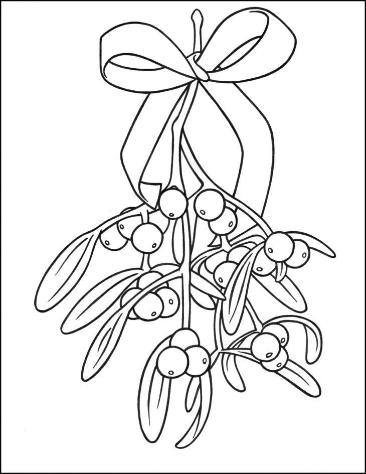 Mistletoe Christmas Coloring Page