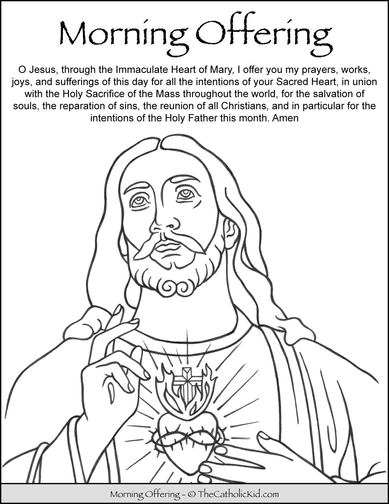Morning Offering Prayer for Kids Coloring Page