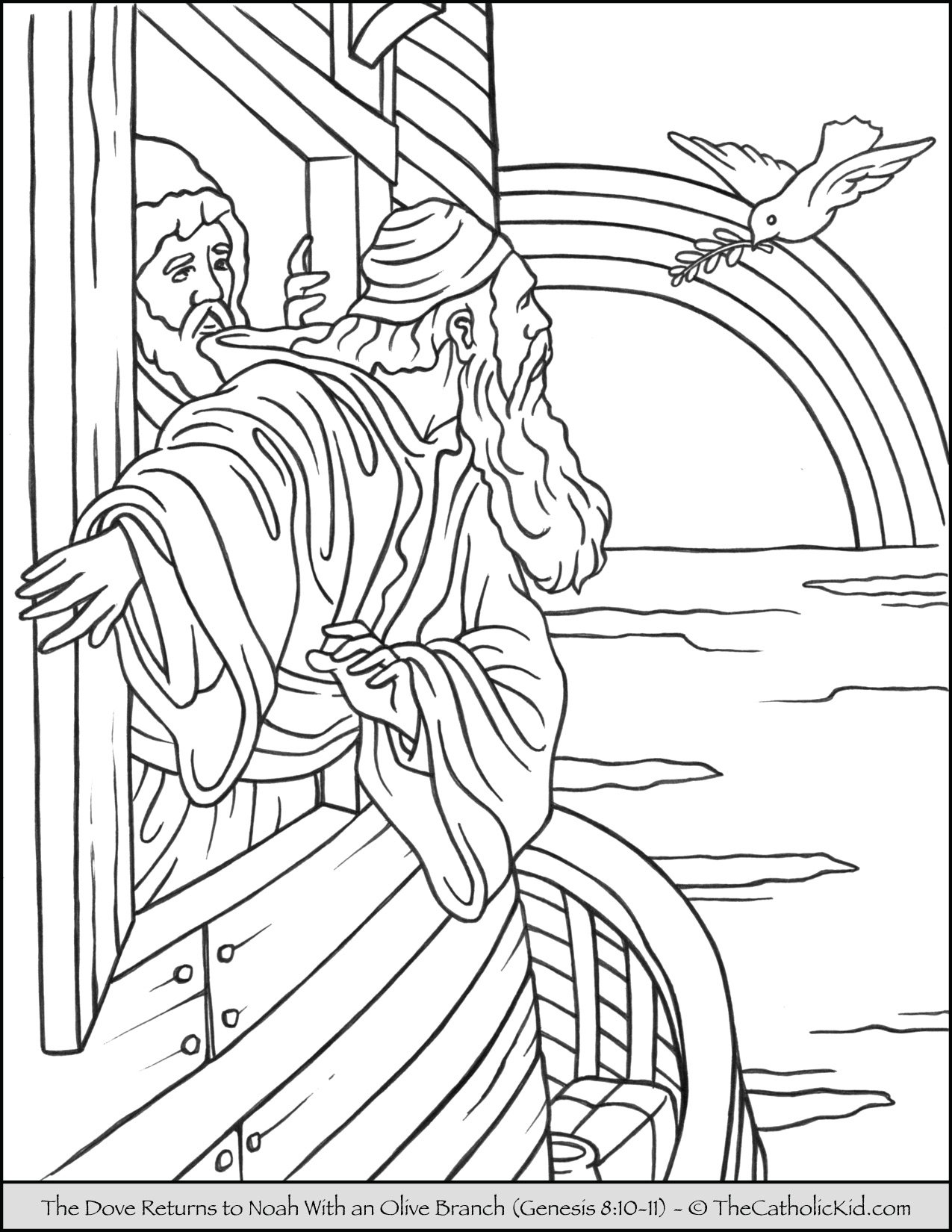 Noah Dove Olive Branch Coloring Page