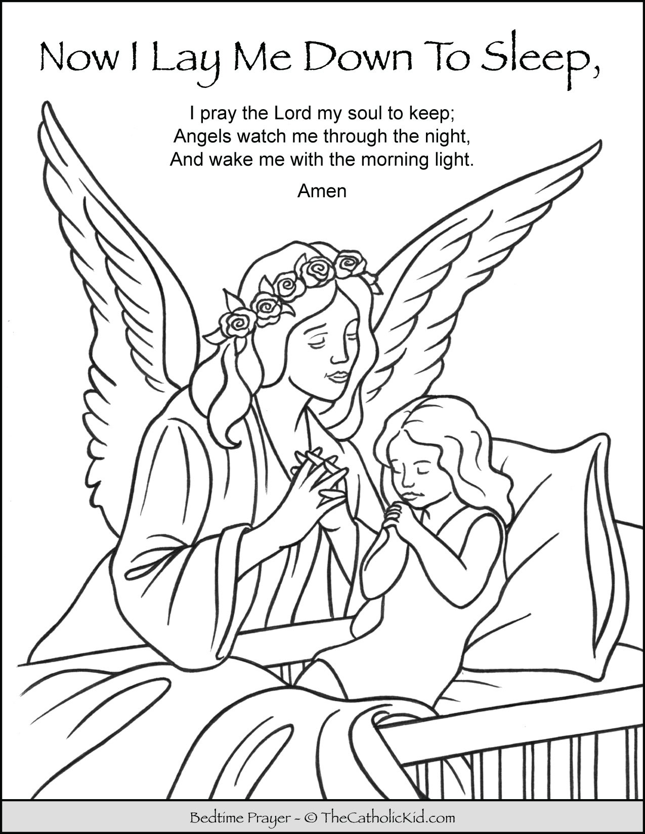 Now I Lay Me Down To Sleep Child Bedtime Prayer Coloring Page