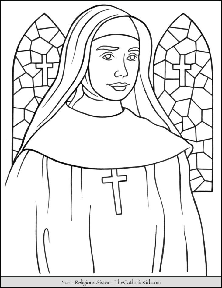 Catholic Nun - Religious Sister Coloring Page