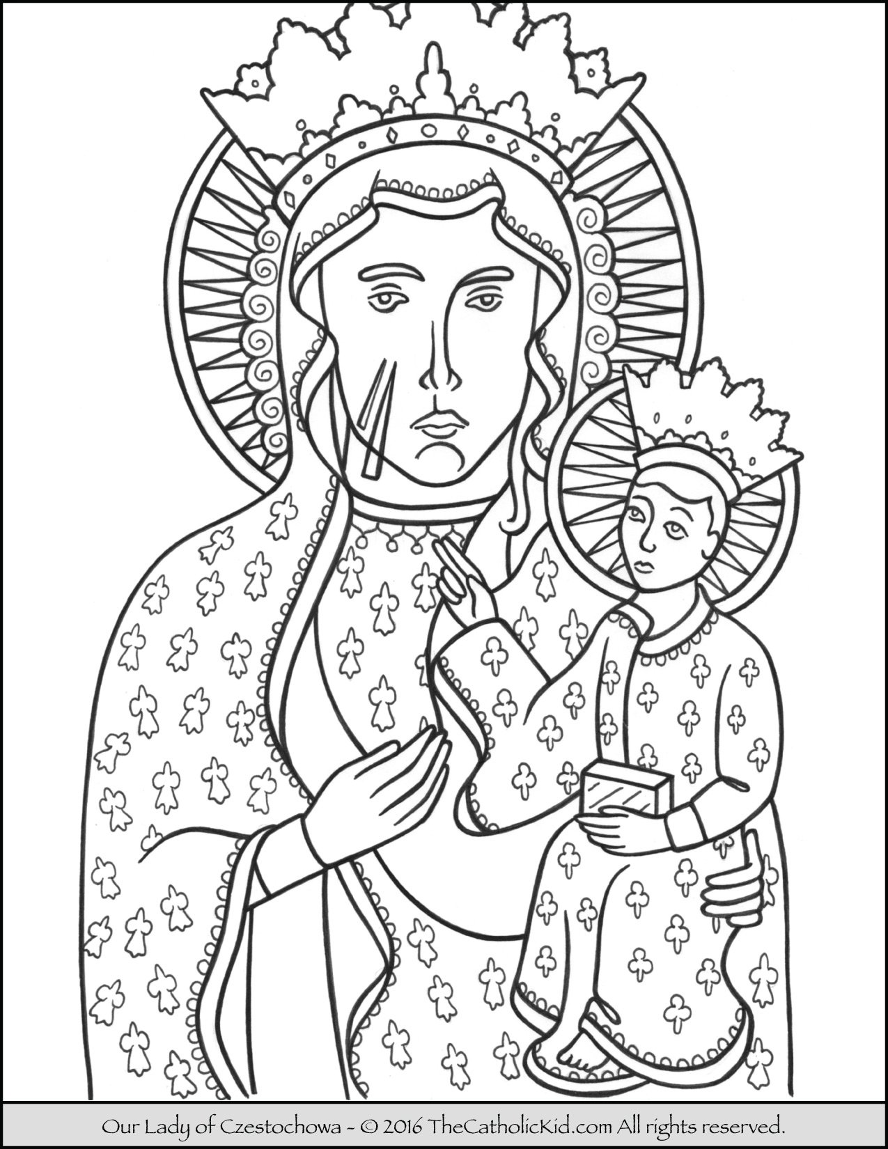 Our Lady of Czestochowa Coloring Page