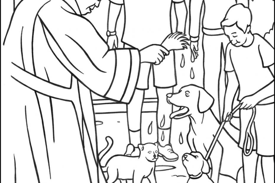 Priest Blessing Pets Coloring Page