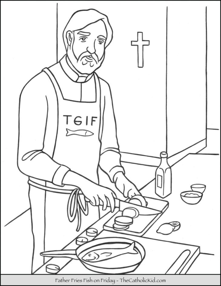 Priest Father Frying Fish Friday Coloring Page