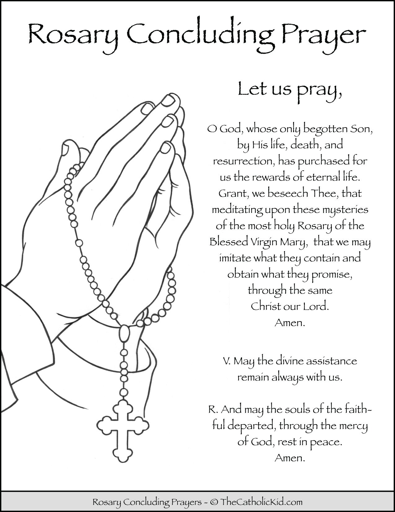 Rosary Concluding Prayers Coloring Page
