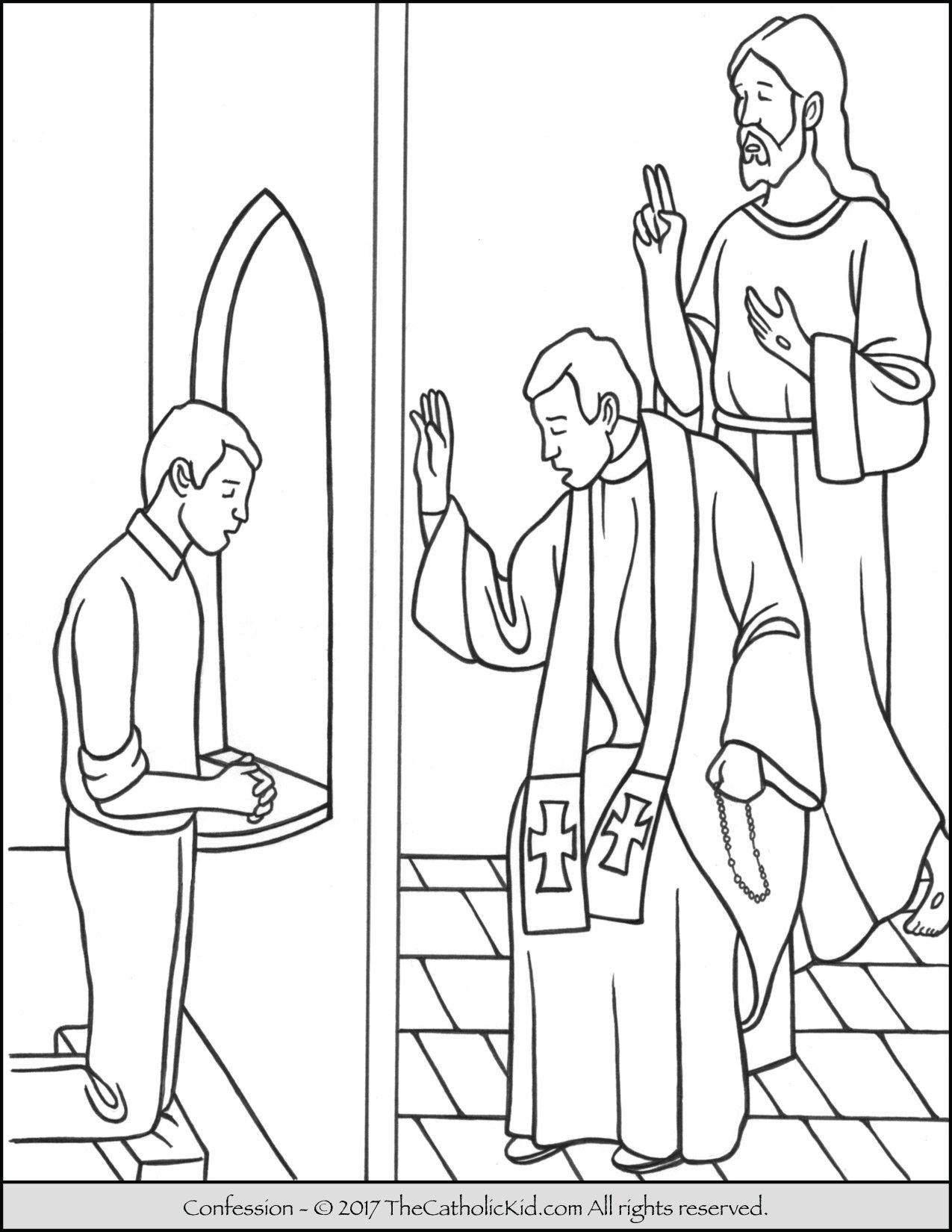 Sacrament Confession Coloring Page