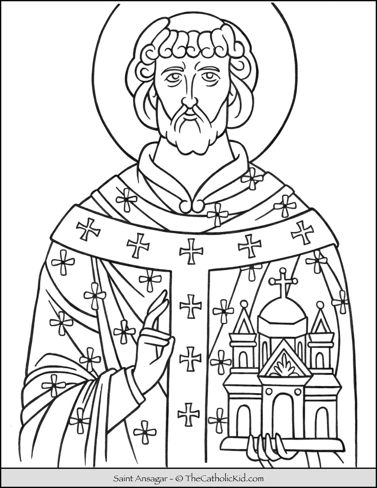 Saint Ansgar Coloring Page