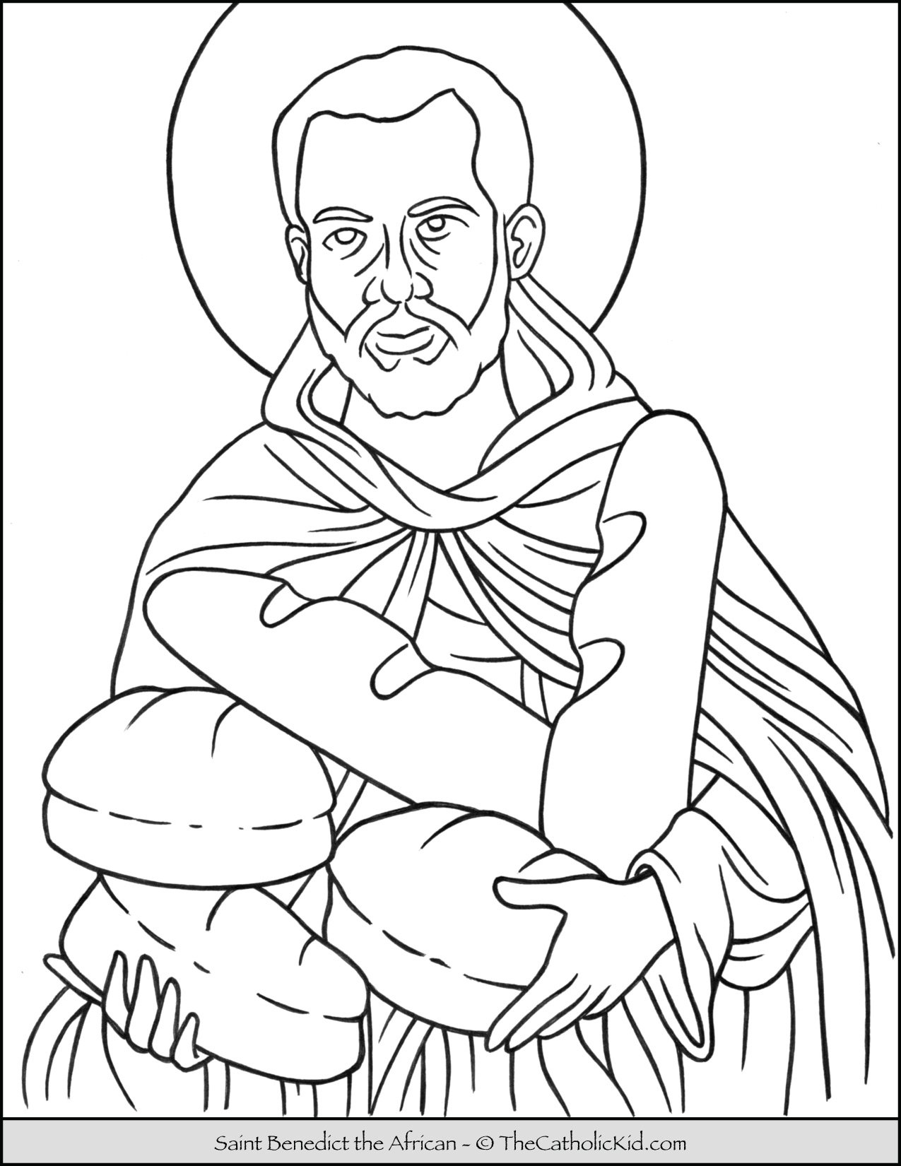 Saint Benedict the African Coloring Page