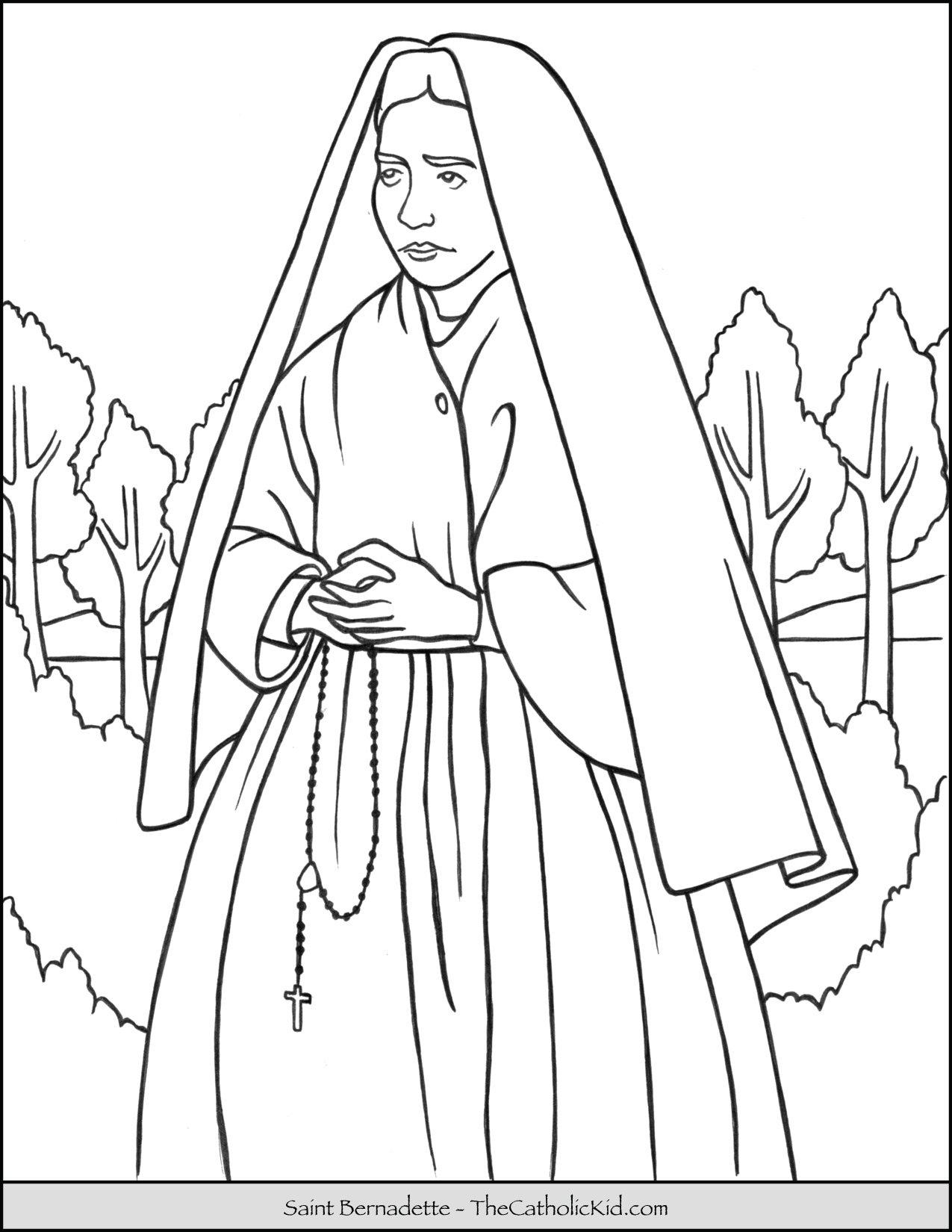 Saint Bernadette Coloring Page