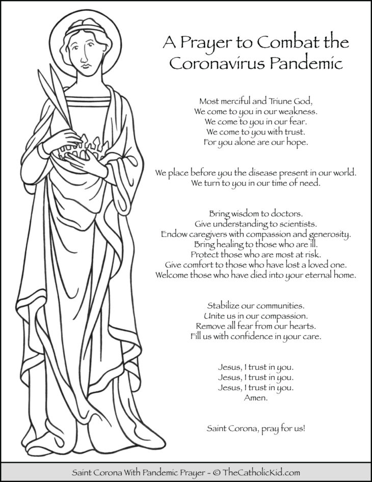 Saint Corona Coloring Page With Pandemic Prayer