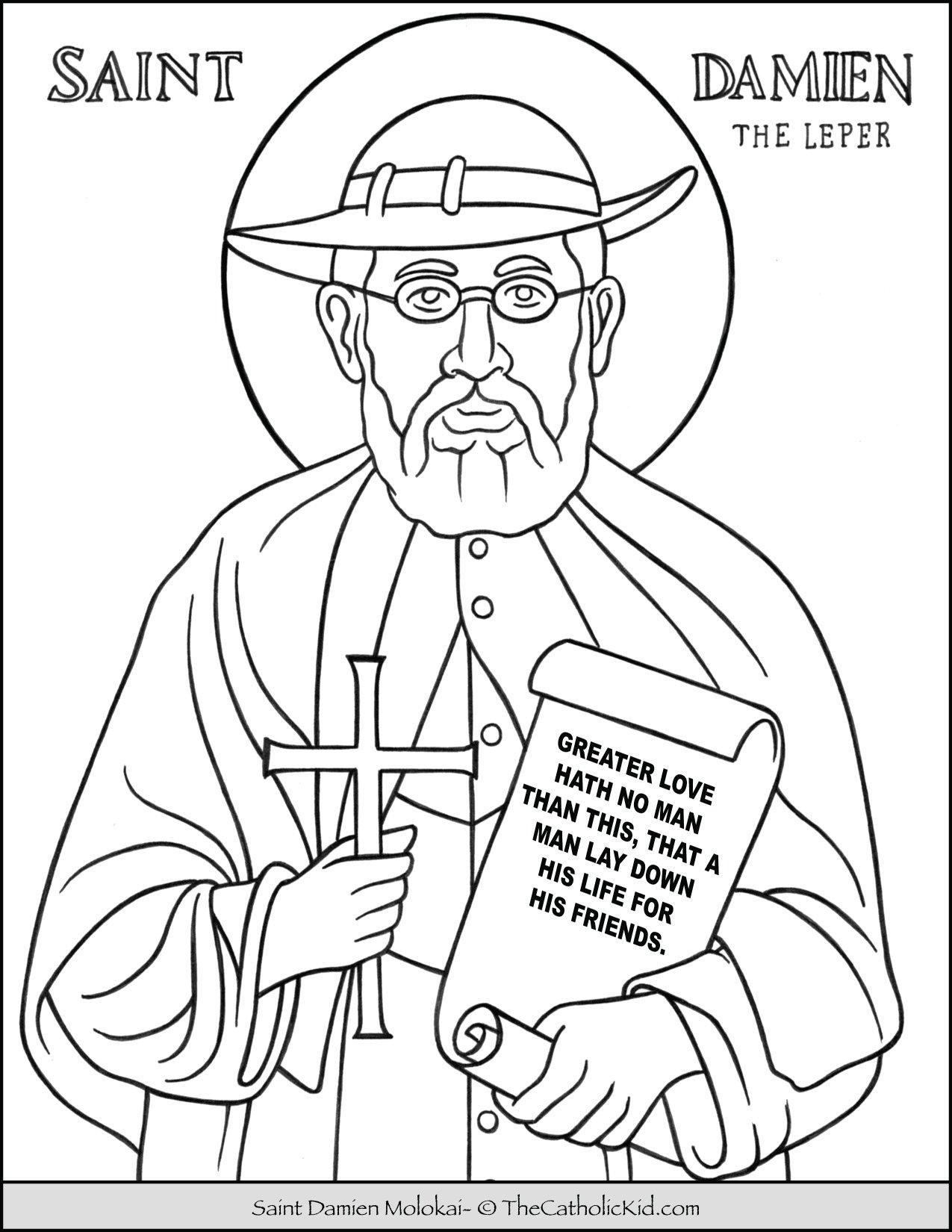 Saint Damien Molokai Coloring Page