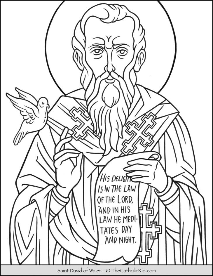 Saint David of Wales Coloring Page