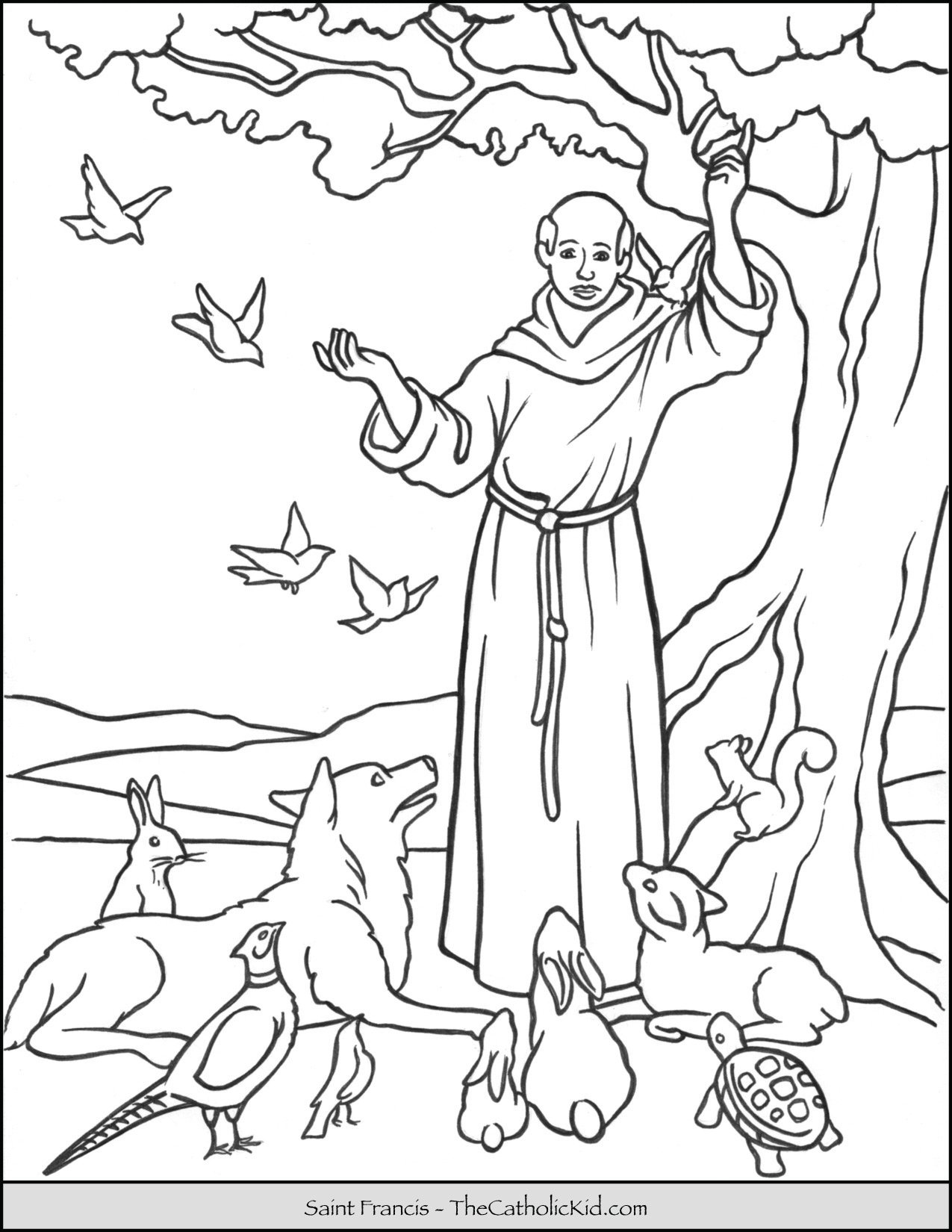 Saint Francis Blessing Animals Coloring Page