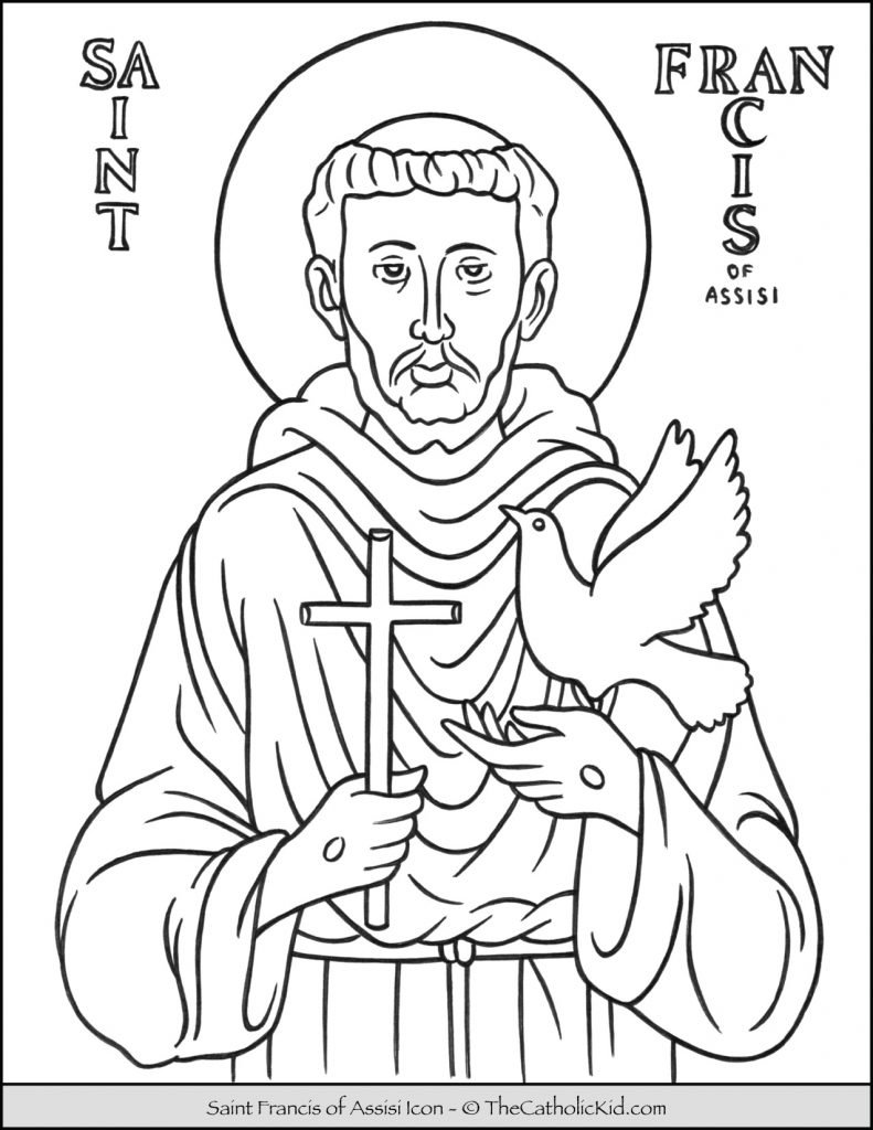 Saint Francis of Assisi Icon Coloring Page