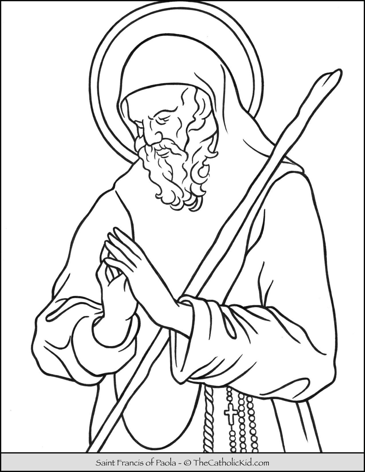 Saint Francis of Paola Coloring Page