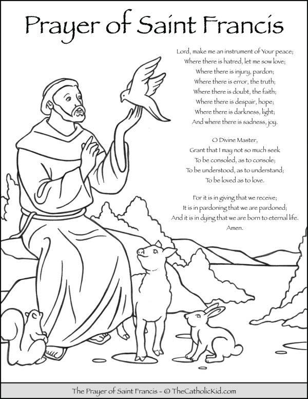 Saint Francis Prayer Coloring Page