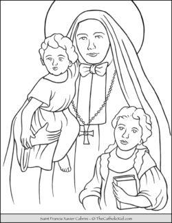 Saint Francis Xavier Cabrini Coloring Page