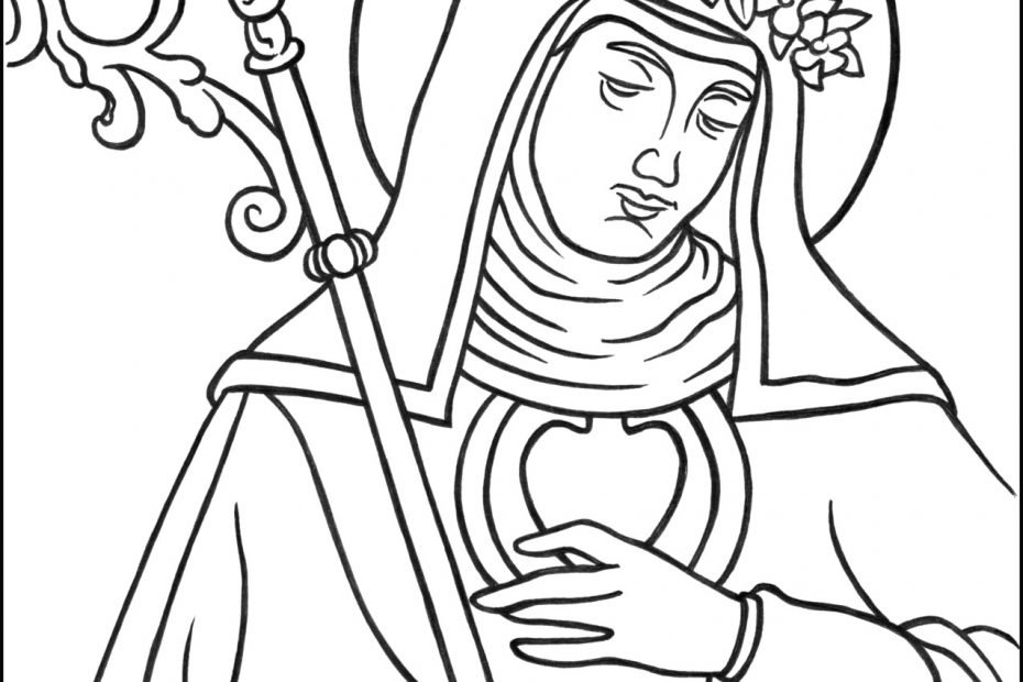 Saint Gertrude the Great Coloring Page