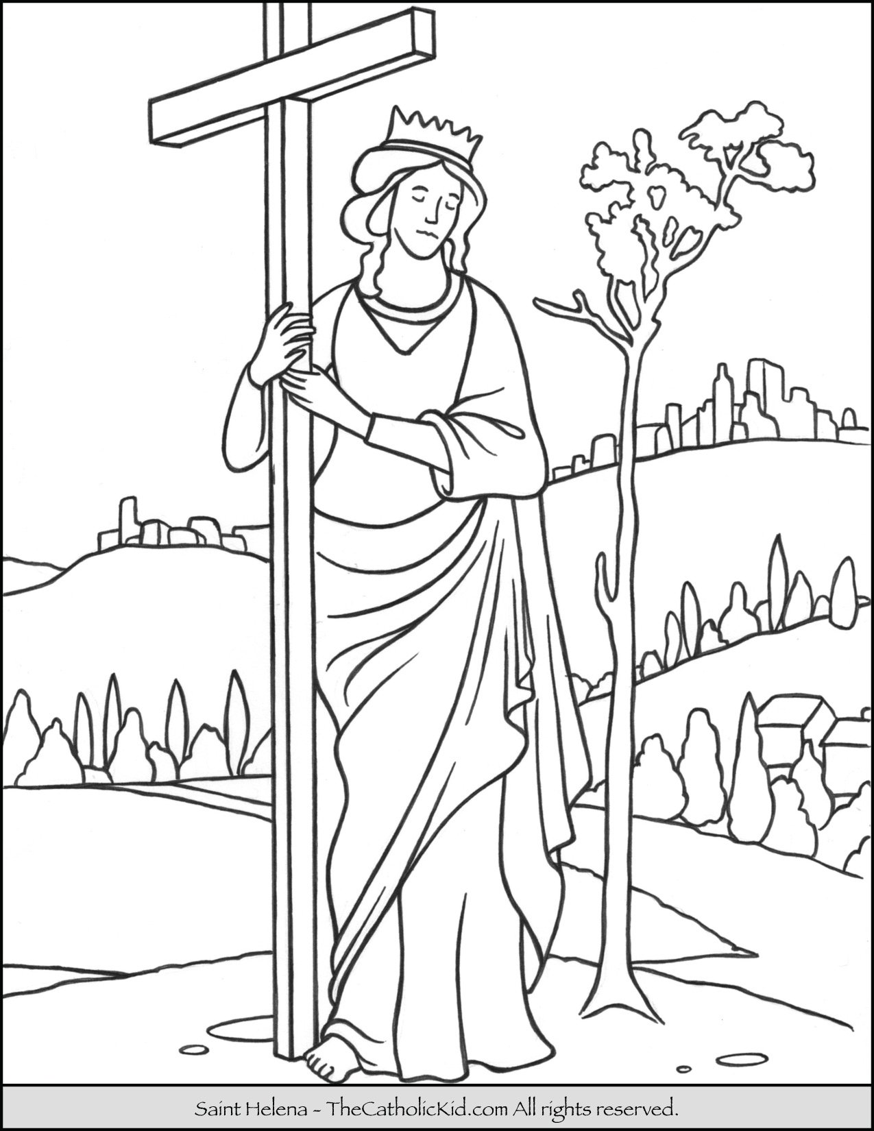 Saint Helena Coloring Page - TheCatholicKid.com