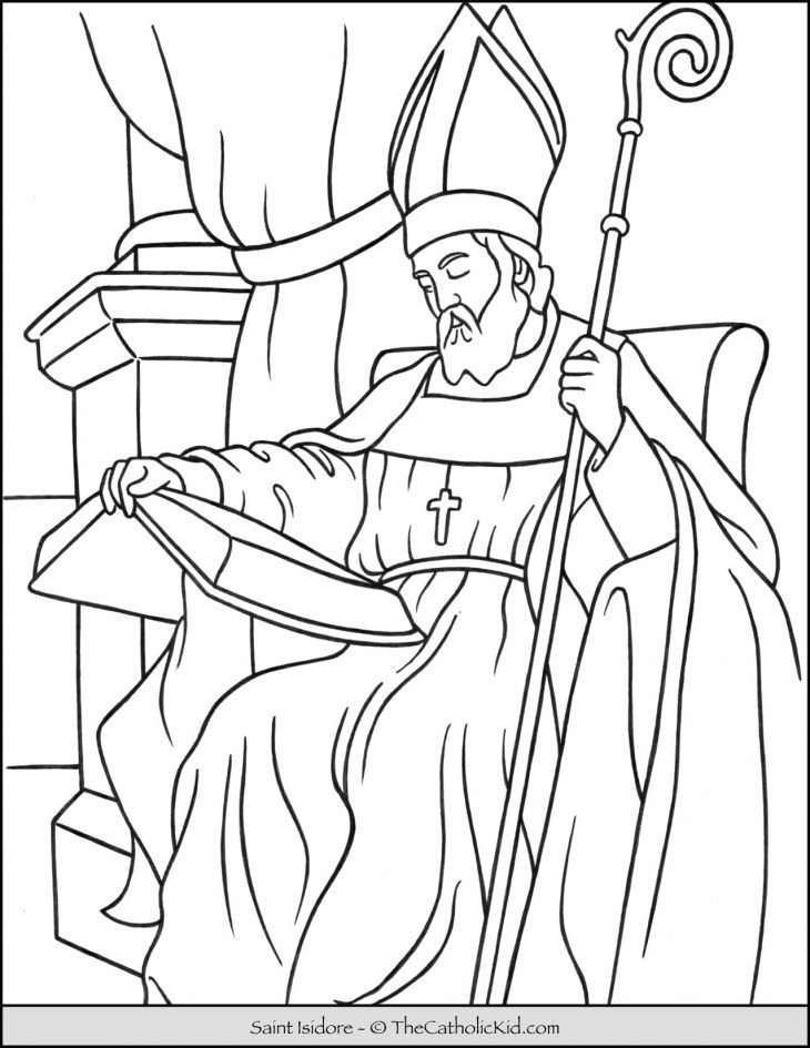 Saint Isidore of Seville Coloring Page