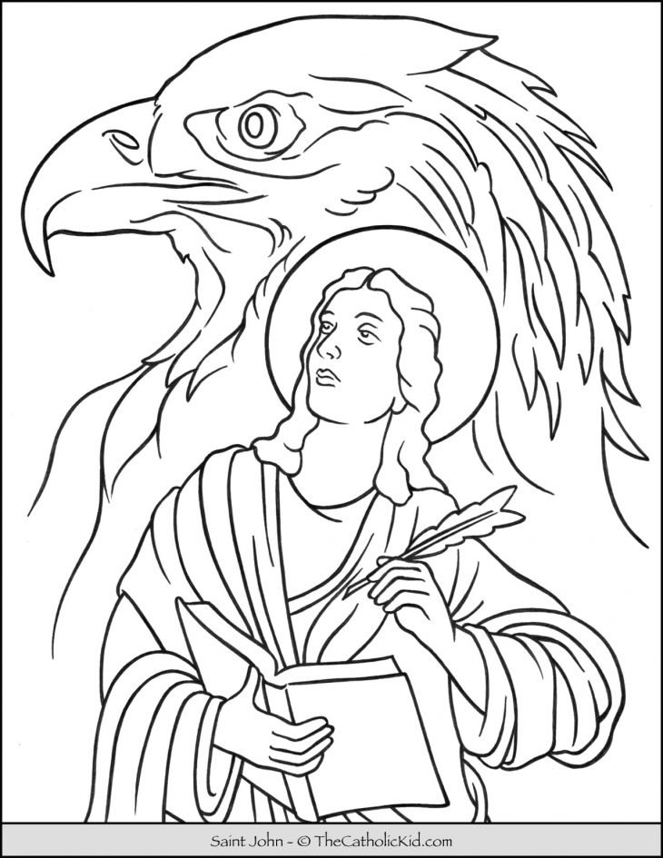 Saint John Eagle Coloring Page