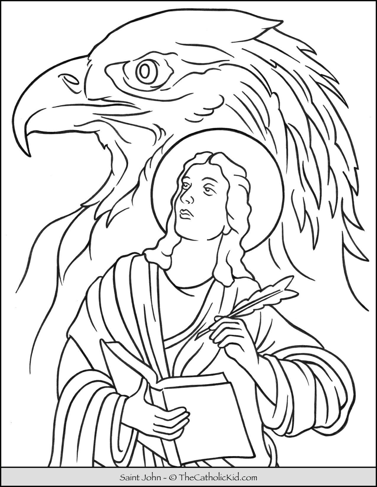 Saint John Eagle Coloring Page