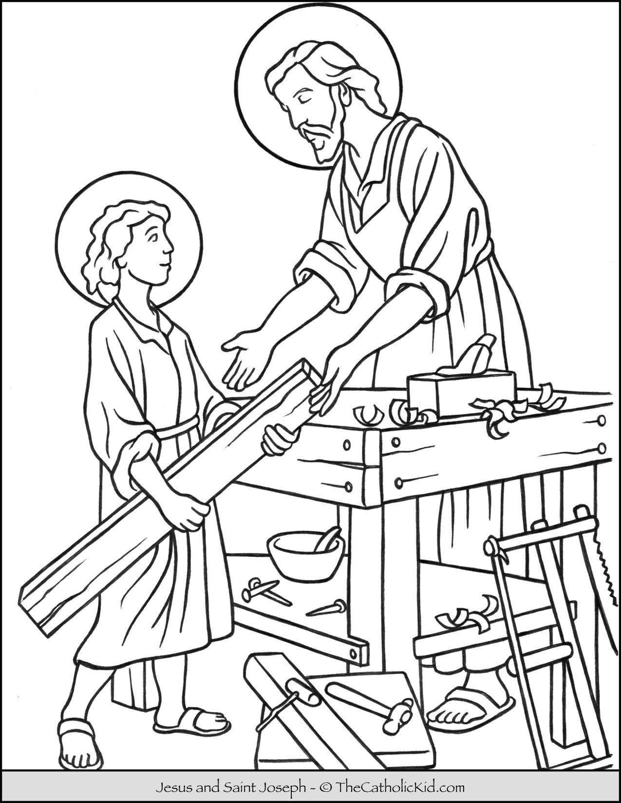Saint Joseph Jesus Workshop Coloring Page