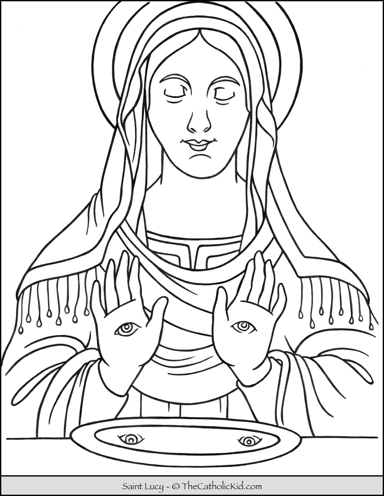Saint Lucy Catholic Coloring Page