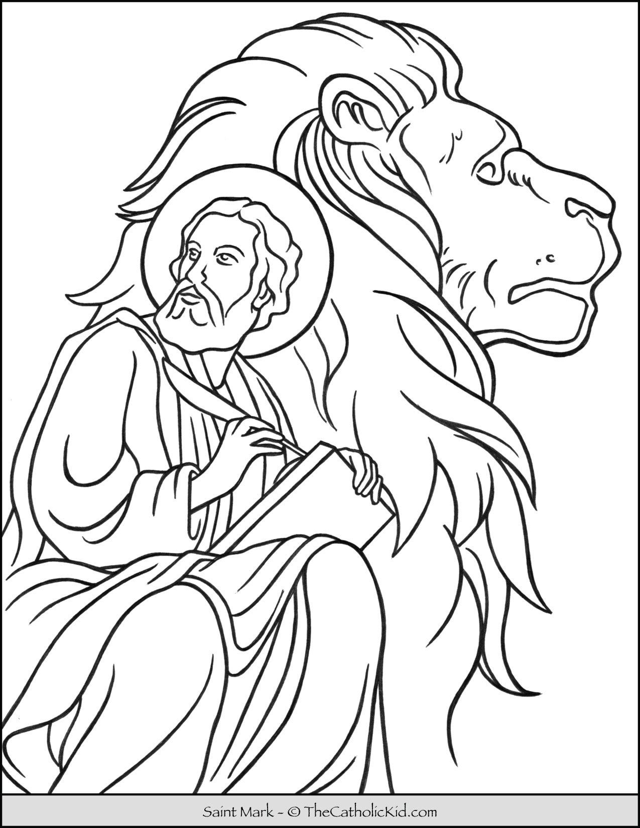 Saint Mark Lion Coloring Page