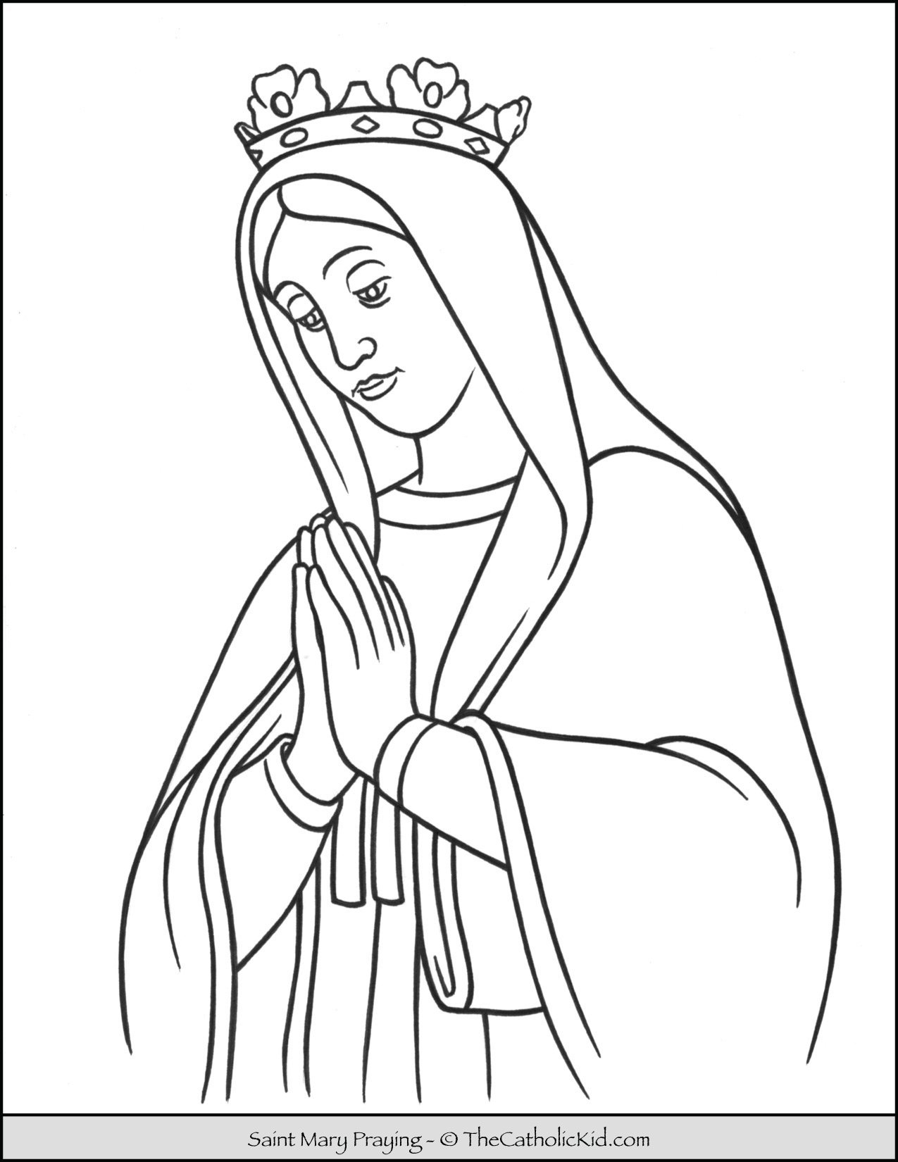 Saint Mary Praying Coloring Page