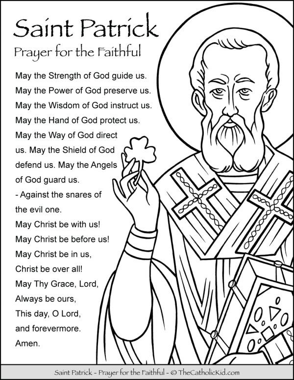 Saint Patrick Prayer Coloring Page