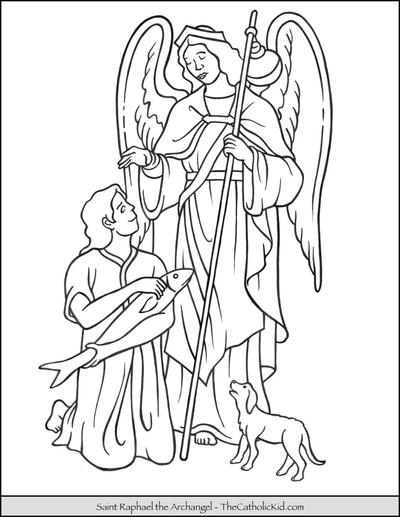 Saint Raphael Archangel Coloring Page