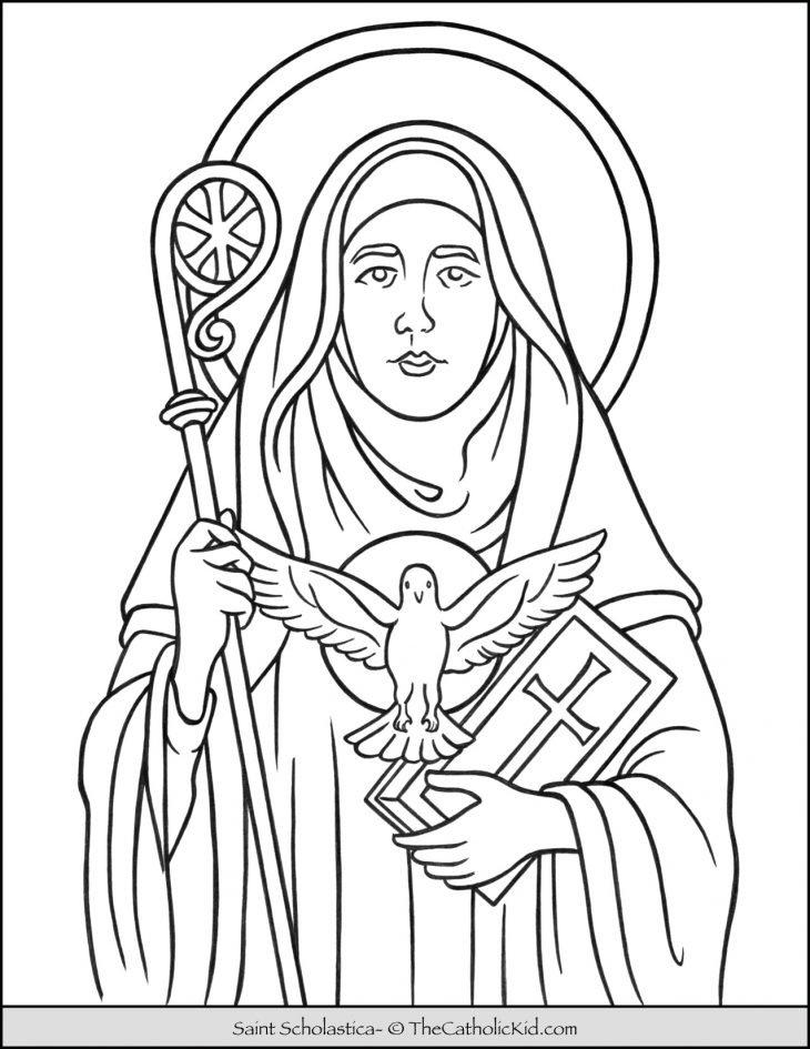 Saint Scholastica Coloring Page