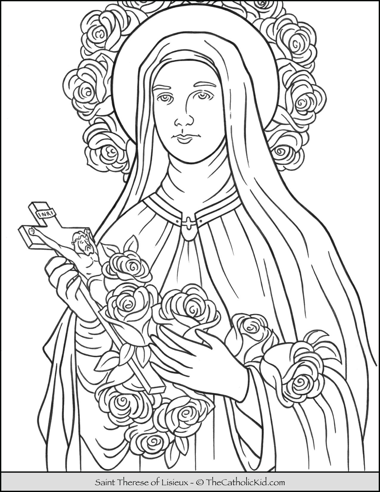 Saint Therese of Lisieux Coloring Page
