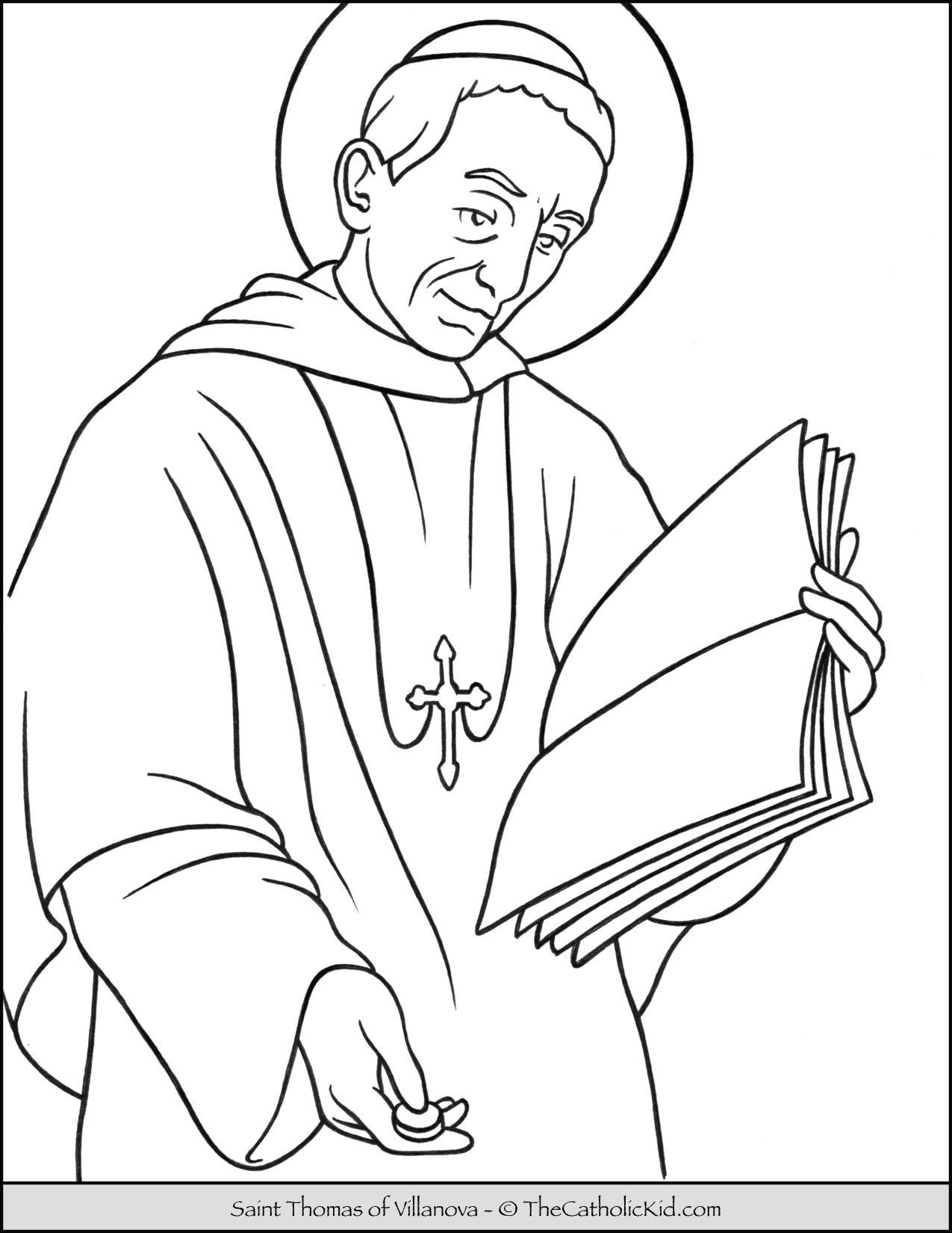 Saint Thomas of Villanova Coloring Page