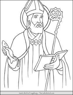 Saint Ulrich of Augsburg Coloring Page