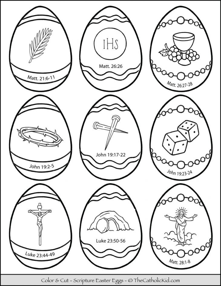 Scripture Verse Easter Eggs Coloring Page Cut Outs