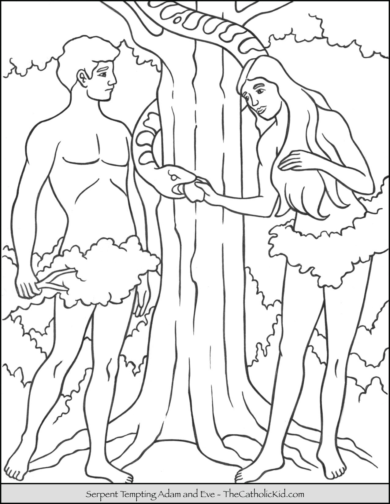 Serpent Tempting Adam Eve Coloring Page