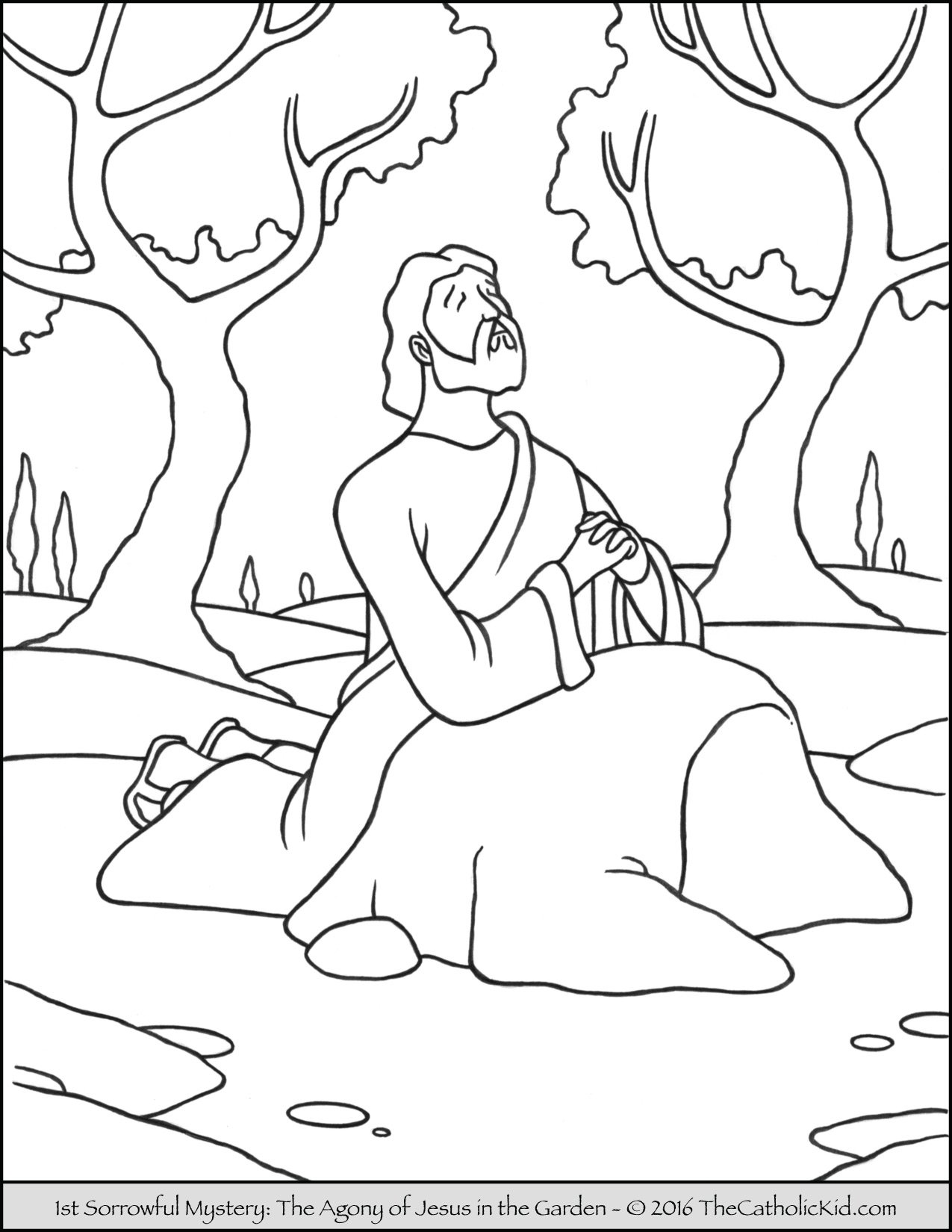 Sorrowful Mysteries Rosary Coloring Pages - The Agony in the Garden