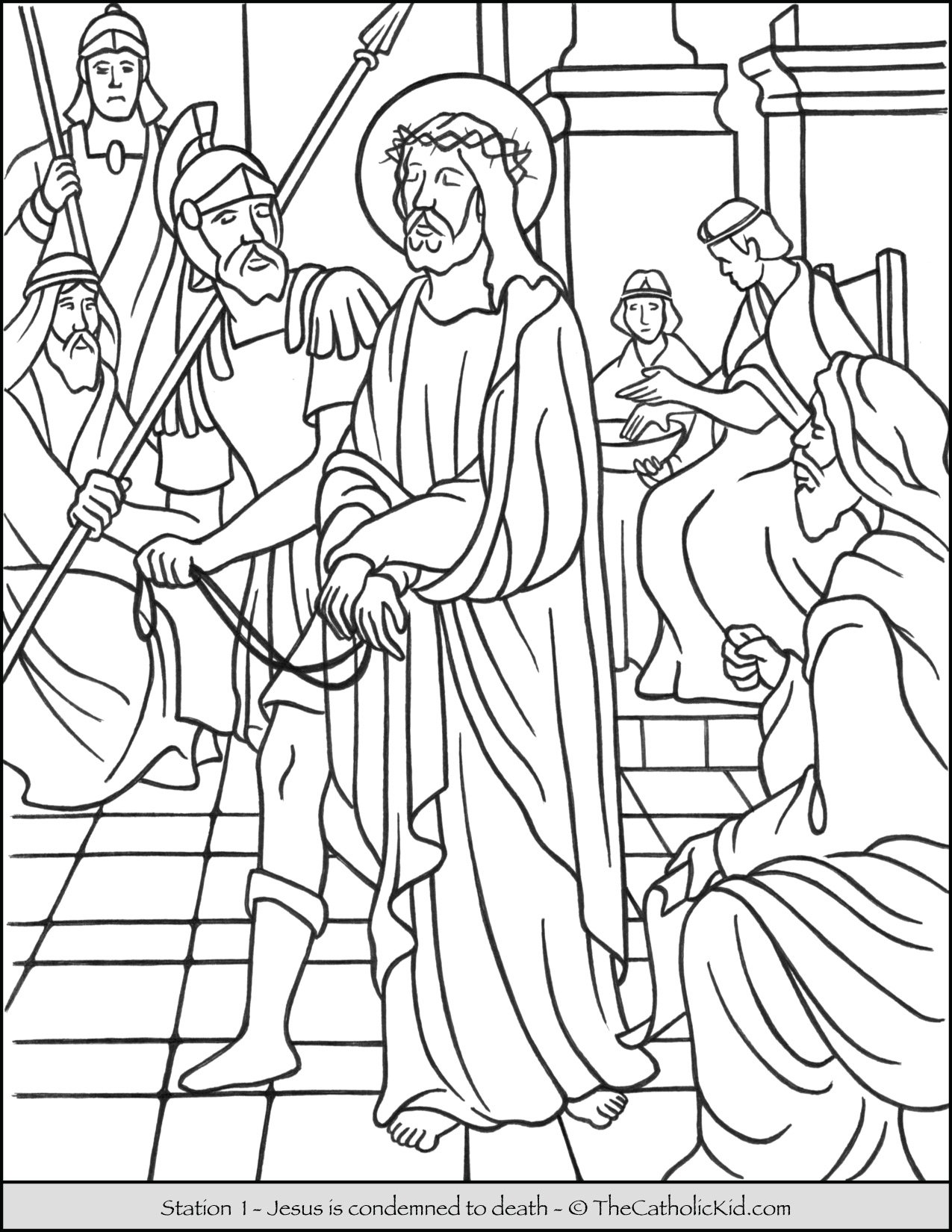 Stations of the Cross Catholic Coloring Pages for Kids 1