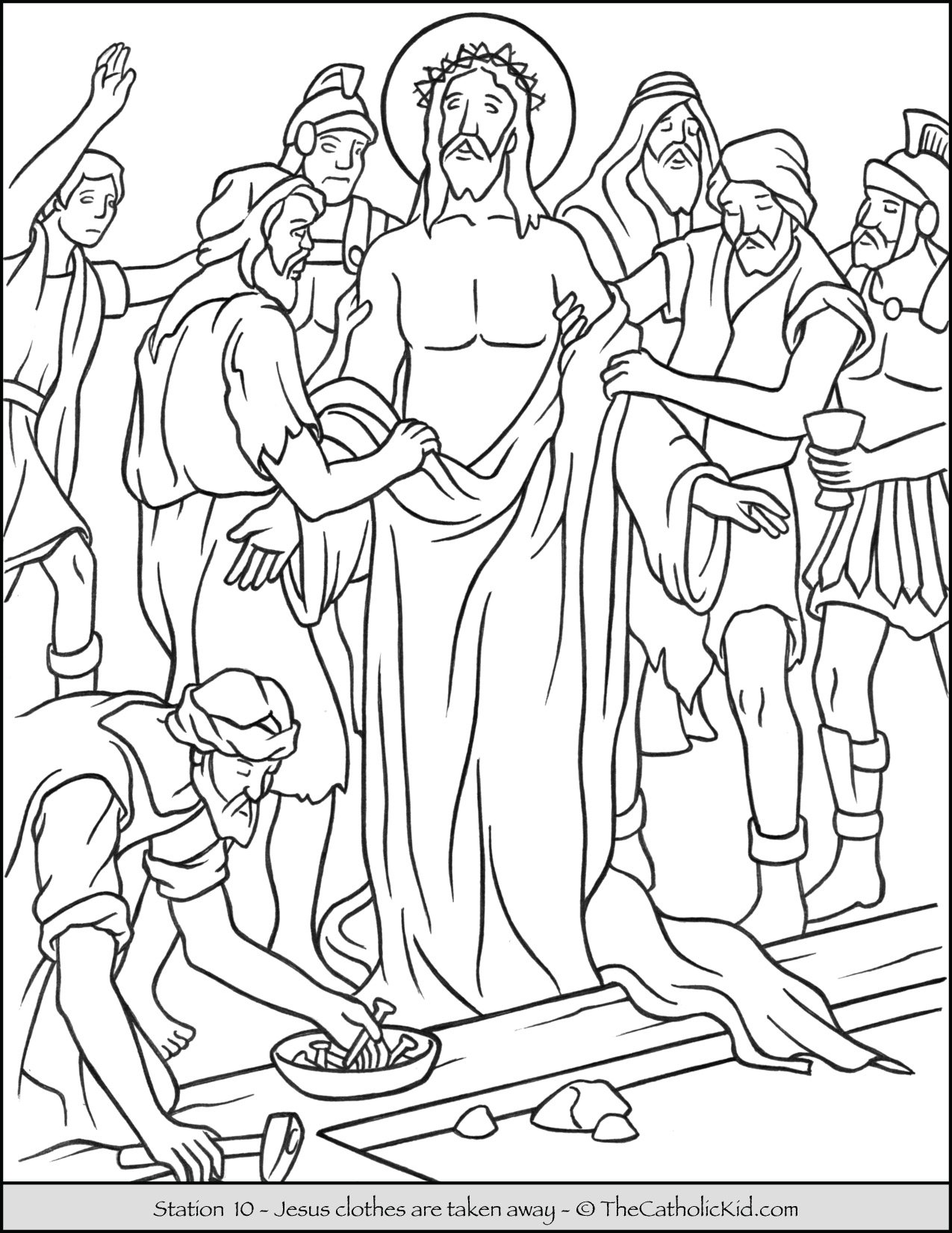 Stations of the Cross Catholic Coloring Pages for Kids 10