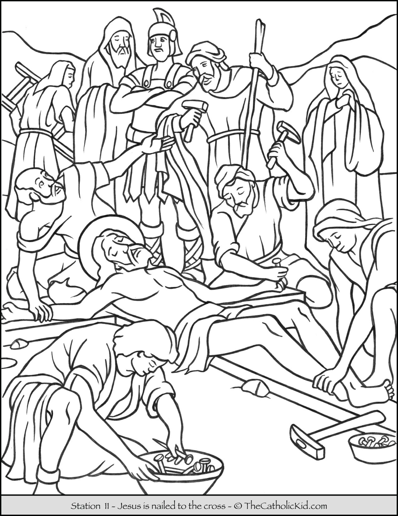 Stations of the Cross Catholic Coloring Pages for Kids 11