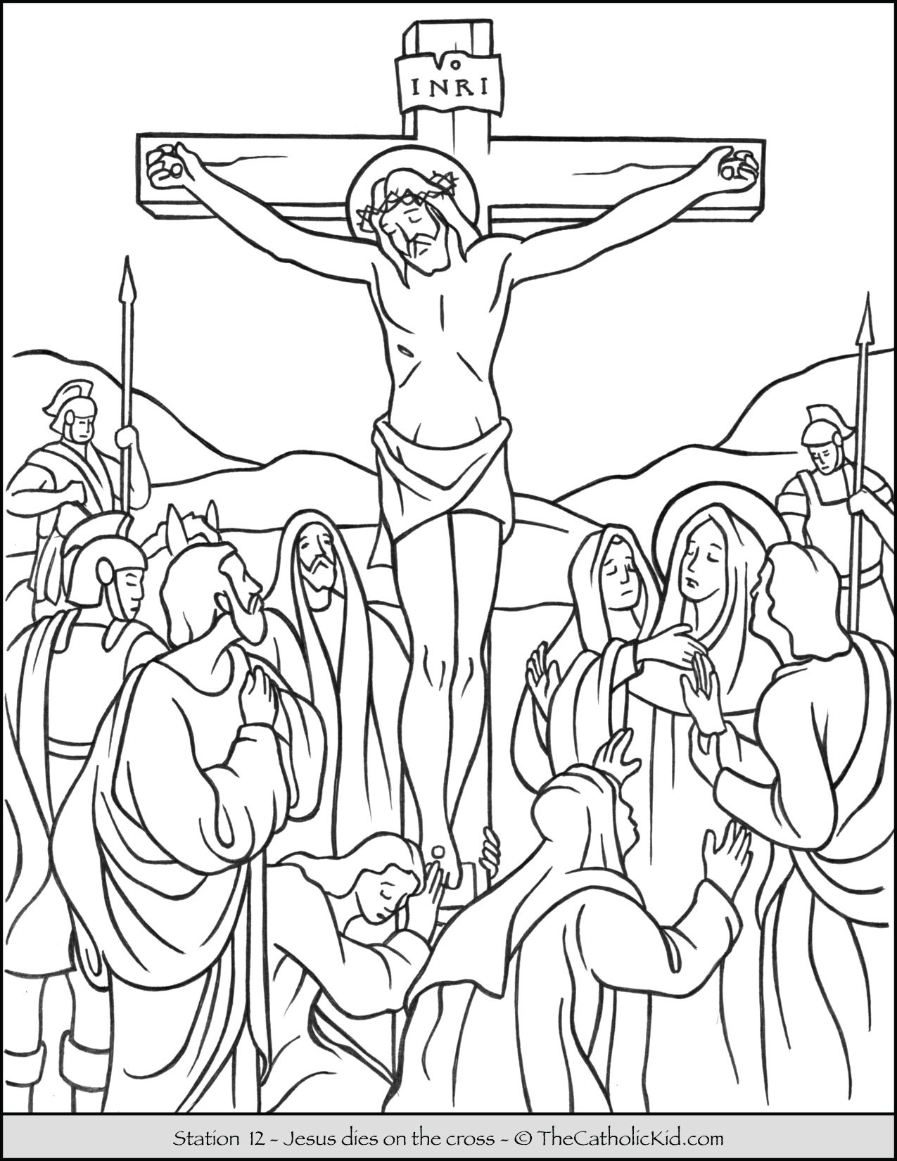 Stations of the Cross Catholic Coloring Pages for Kids 12