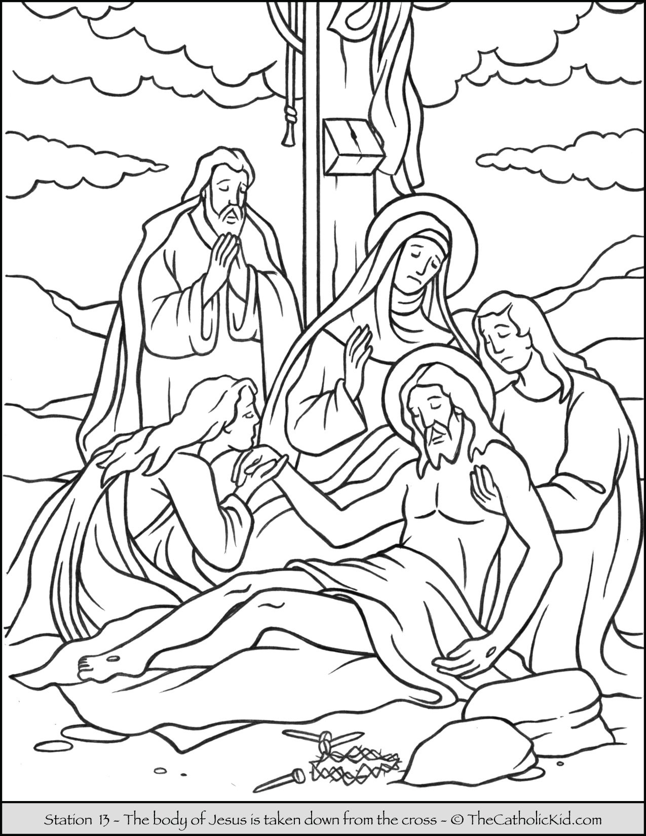 Stations of the Cross Catholic Coloring Pages for Kids 13