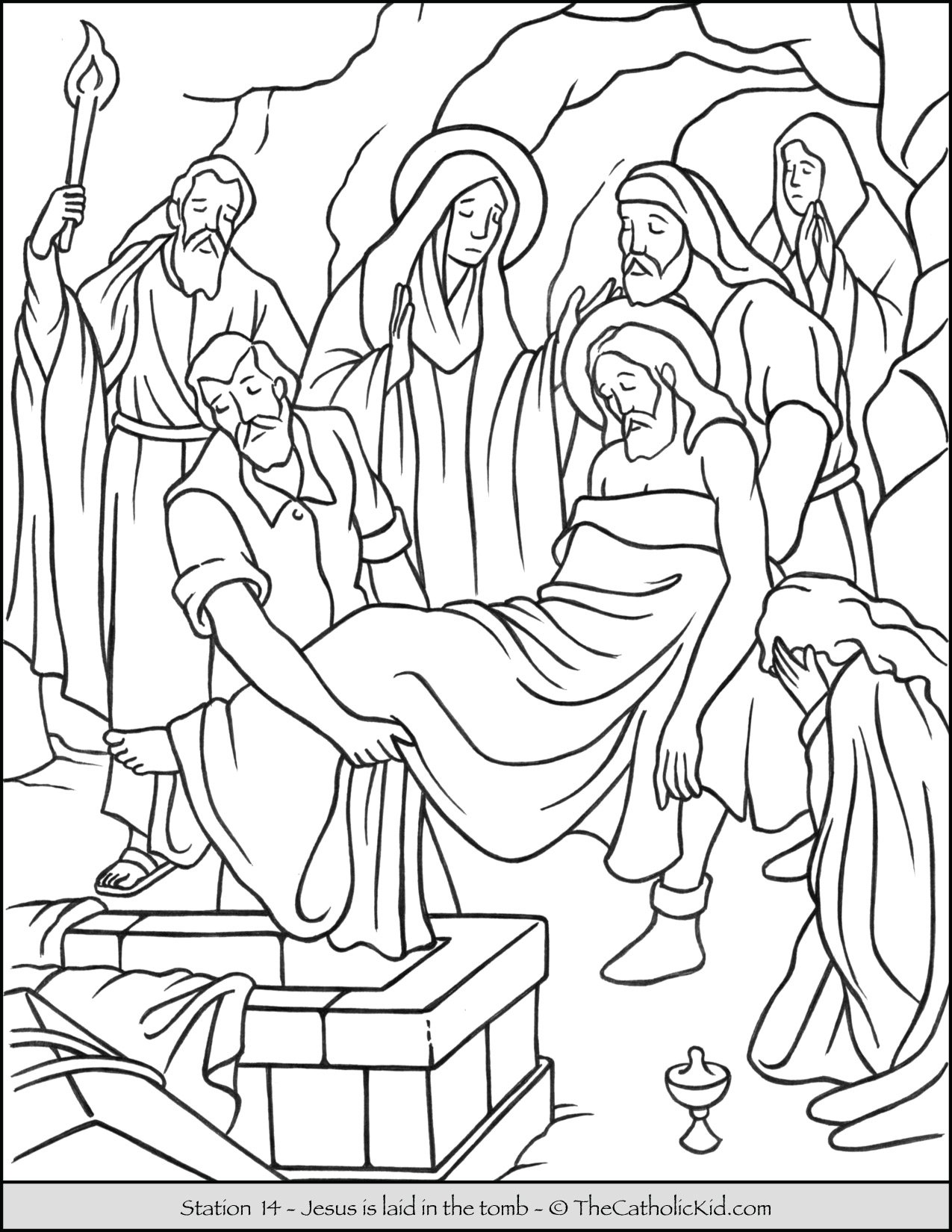 Stations of the Cross Catholic Coloring Pages for Kids 14