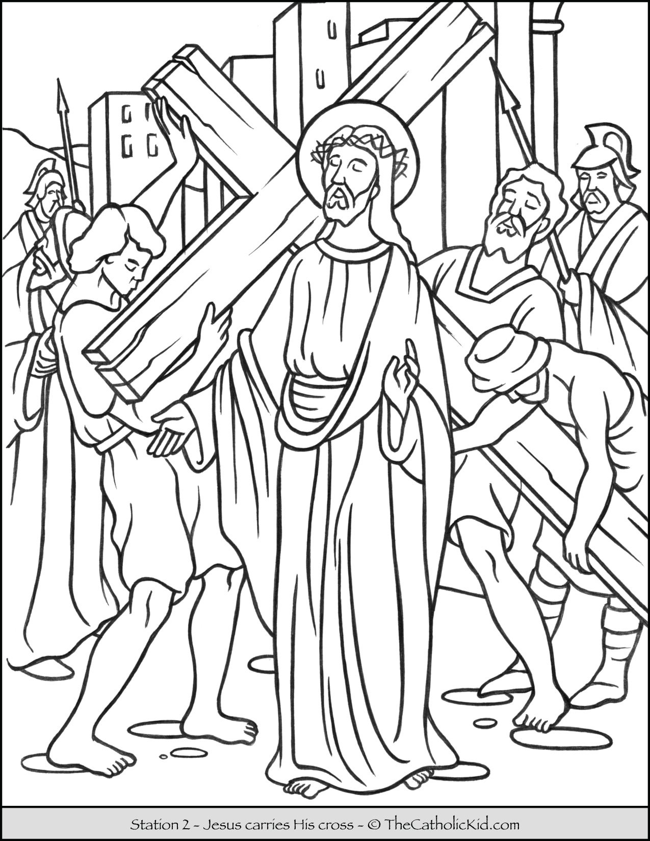 Stations of the Cross Catholic Coloring Pages for Kids 2