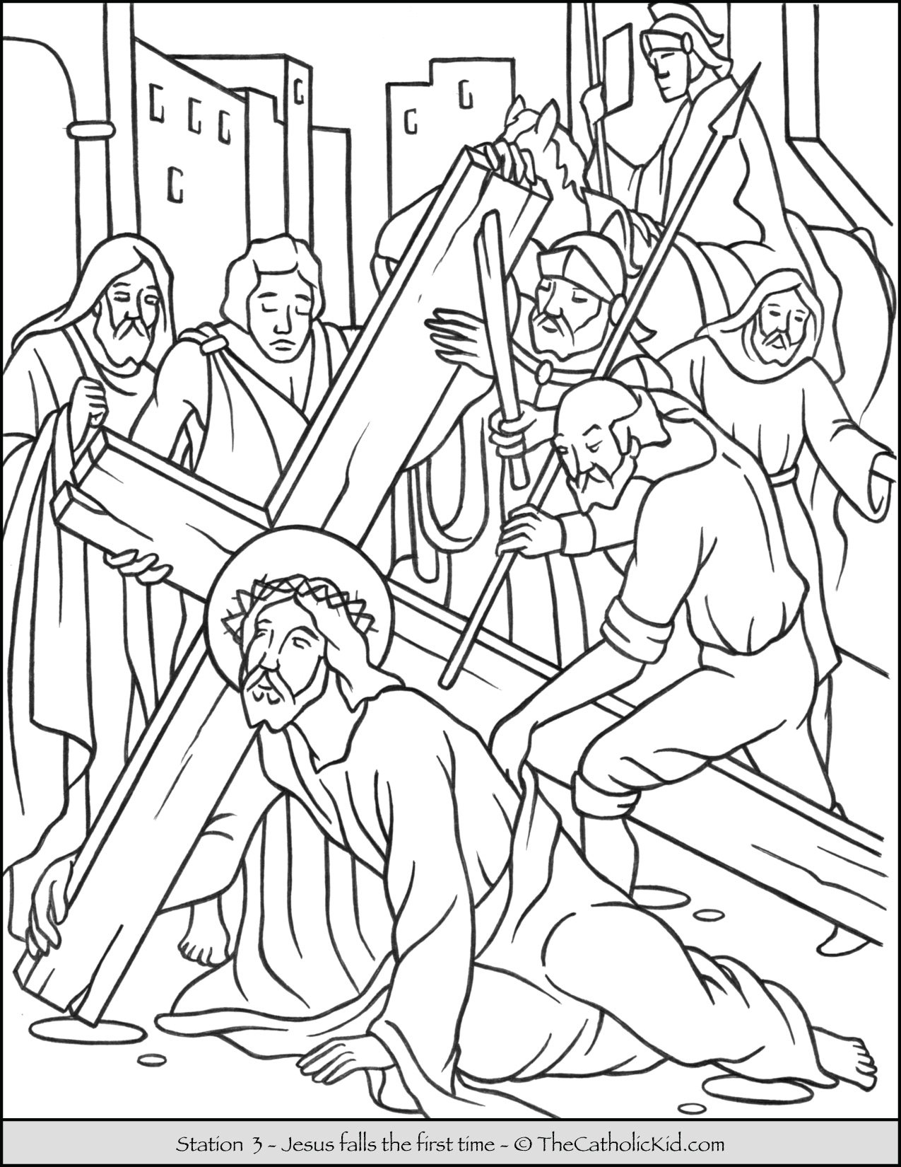Stations of the Cross Catholic Coloring Pages for Kids 3